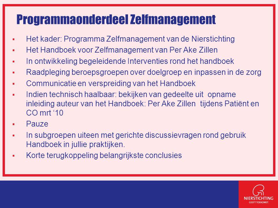 Programmaonderdeel Zelfmanagement