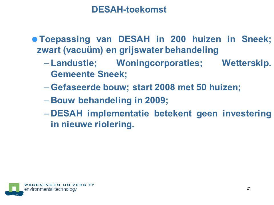 DESAH-toekomst Toepassing van DESAH in 200 huizen in Sneek; zwart (vacuüm) en grijswater behandeling.