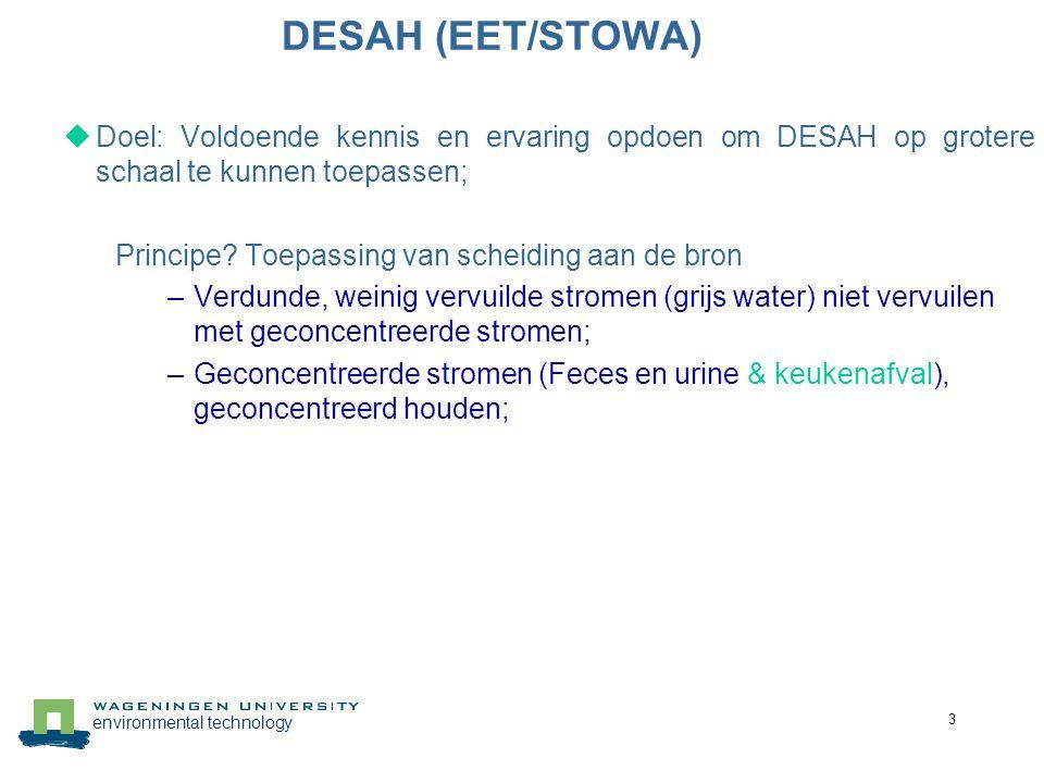 DESAH (EET/STOWA) Doel: Voldoende kennis en ervaring opdoen om DESAH op grotere schaal te kunnen toepassen;