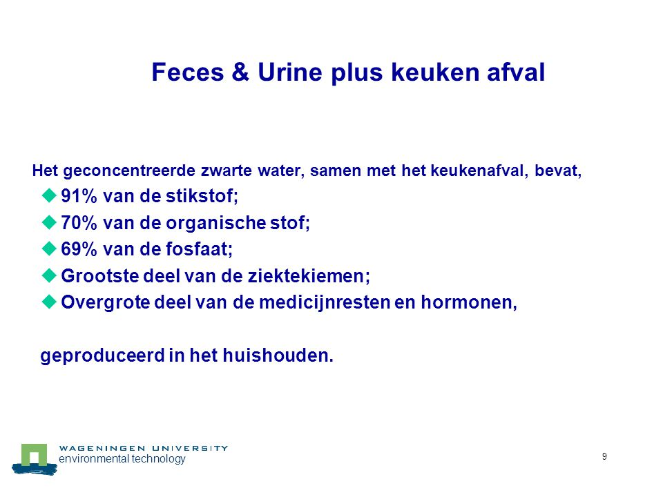 Feces & Urine plus keuken afval
