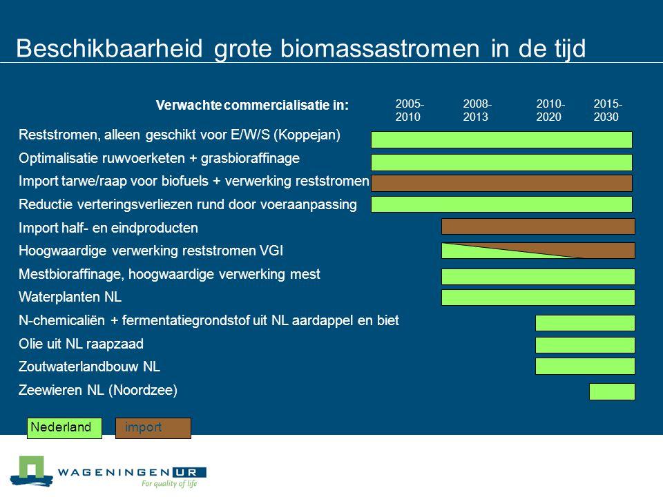 Beschikbaarheid grote biomassastromen in de tijd