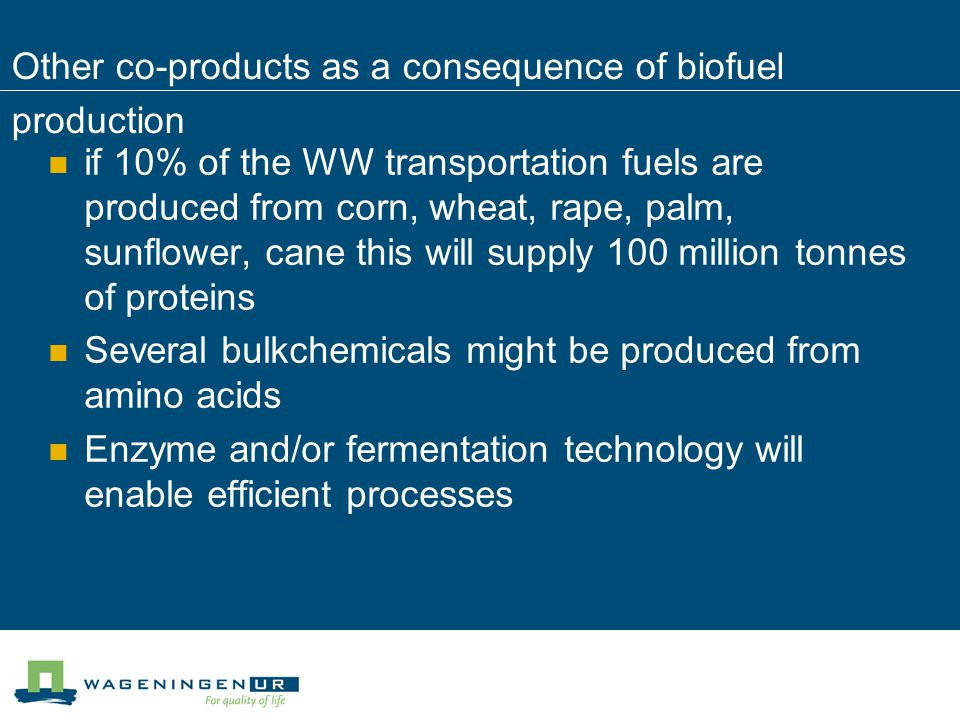 Other co-products as a consequence of biofuel production