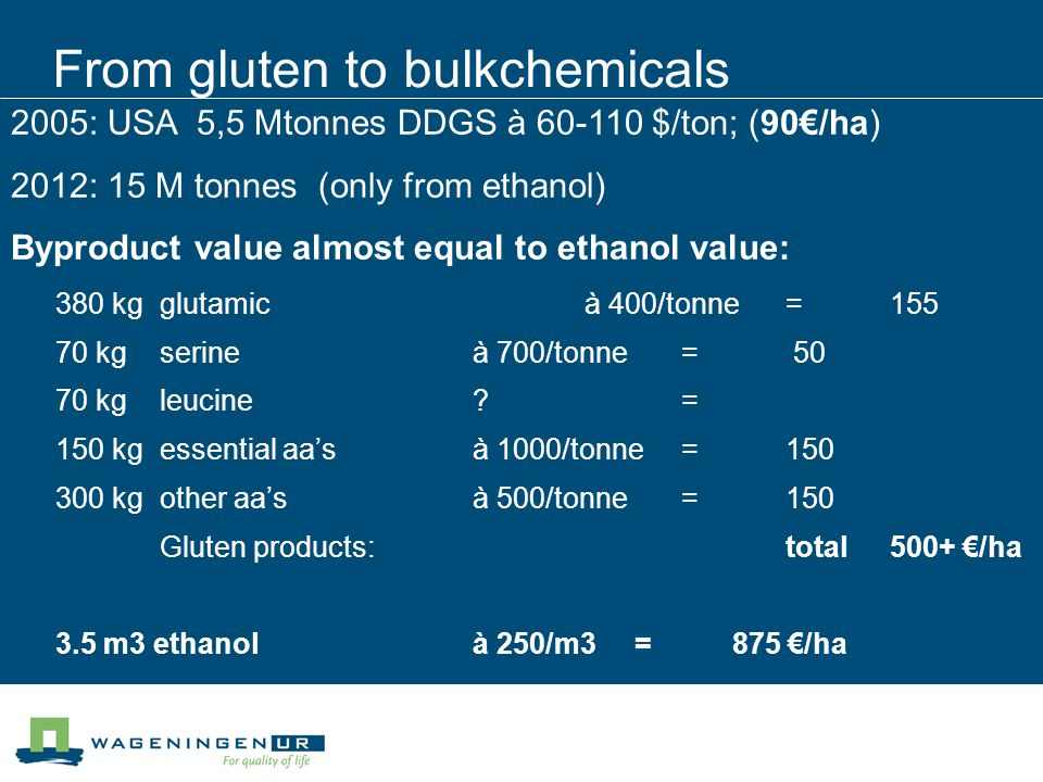 From gluten to bulkchemicals