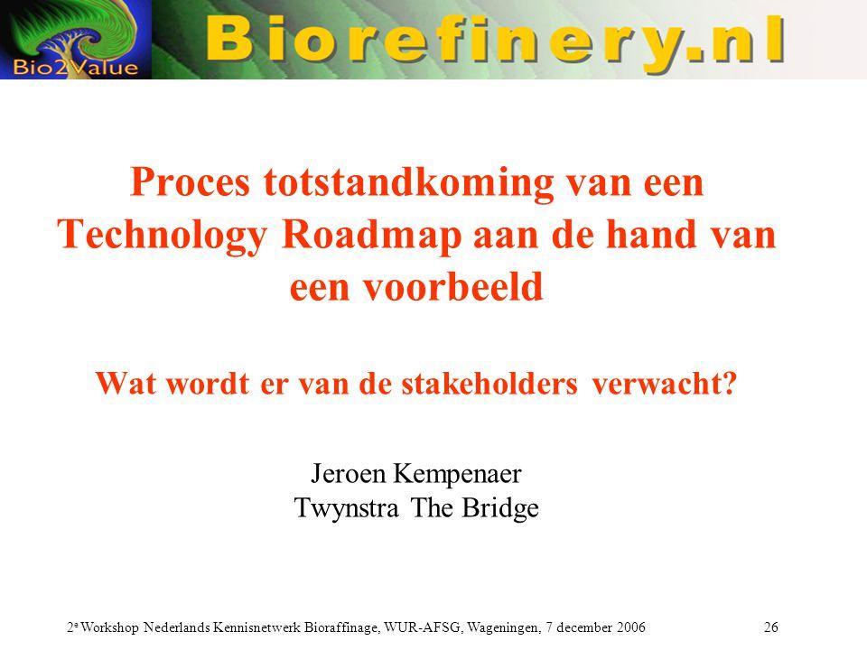 Proces totstandkoming van een Technology Roadmap aan de hand van een voorbeeld Wat wordt er van de stakeholders verwacht Jeroen Kempenaer Twynstra The Bridge
