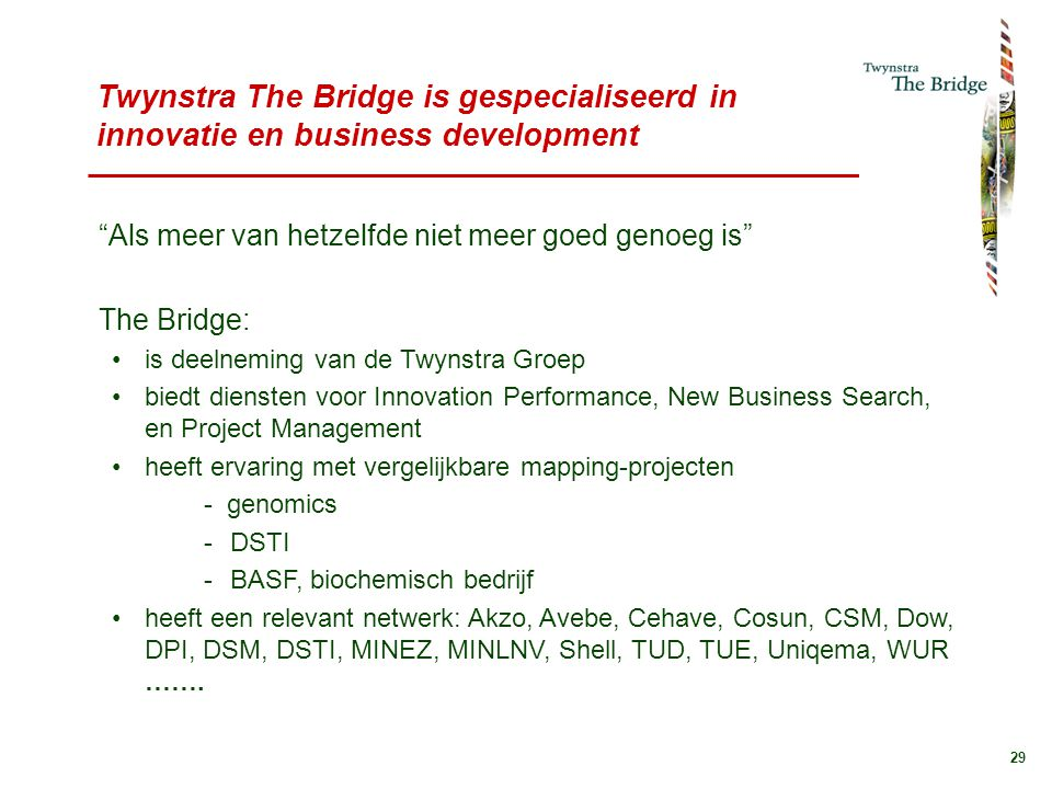 Twynstra The Bridge is gespecialiseerd in innovatie en business development