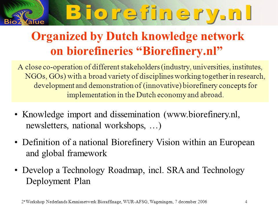 Organized by Dutch knowledge network on biorefineries Biorefinery.nl