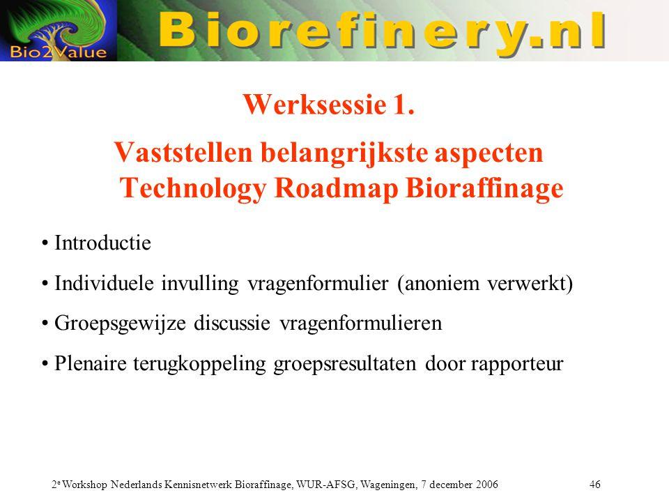 Vaststellen belangrijkste aspecten Technology Roadmap Bioraffinage