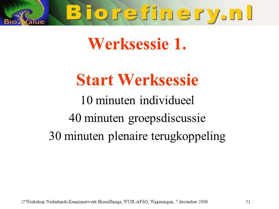 Werksessie 1. Start Werksessie
