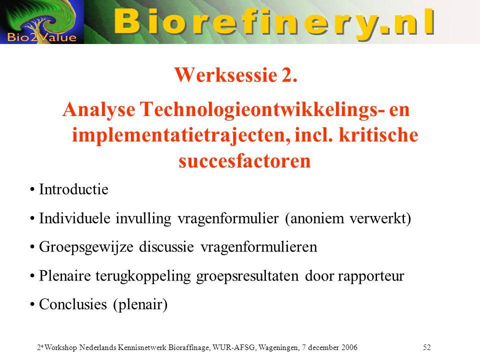 Werksessie 2. Analyse Technologieontwikkelings- en implementatietrajecten, incl. kritische succesfactoren.