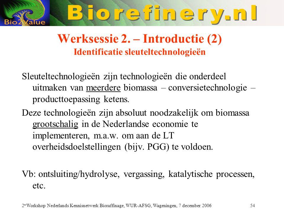 Werksessie 2. – Introductie (2) Identificatie sleuteltechnologieën