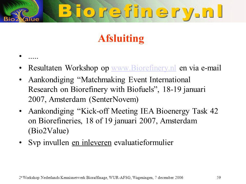 Afsluiting ..... Resultaten Workshop op www.Biorefinery.nl en via e-mail.