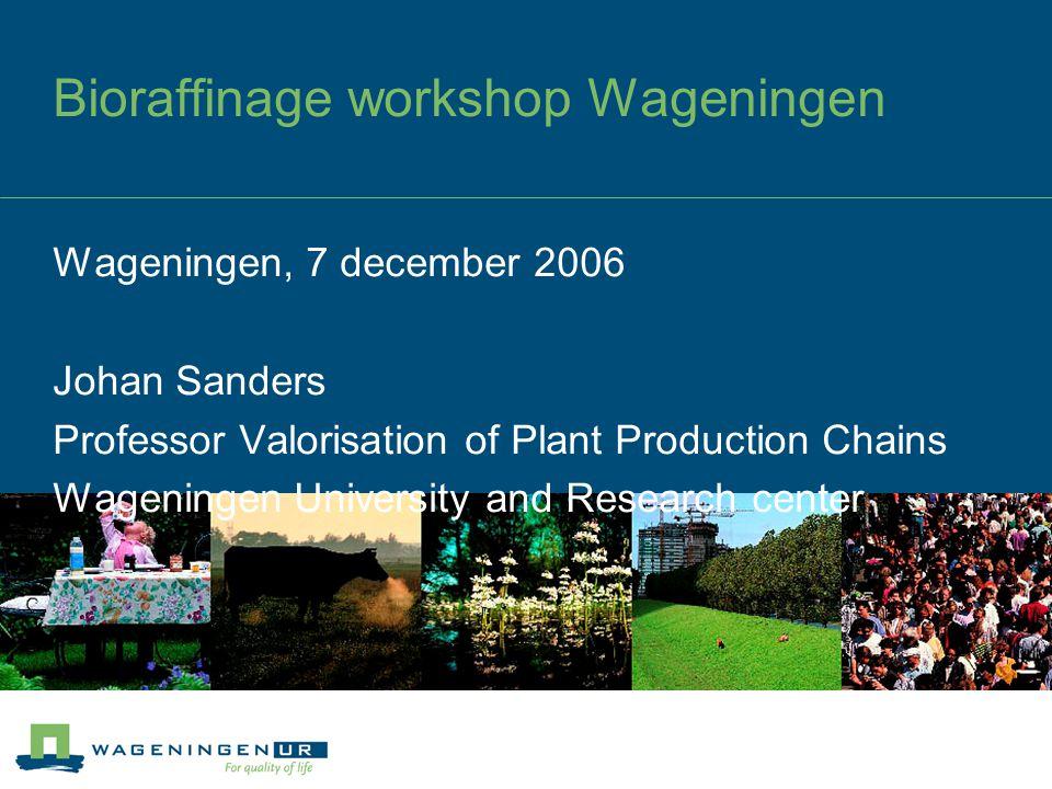 Bioraffinage workshop Wageningen