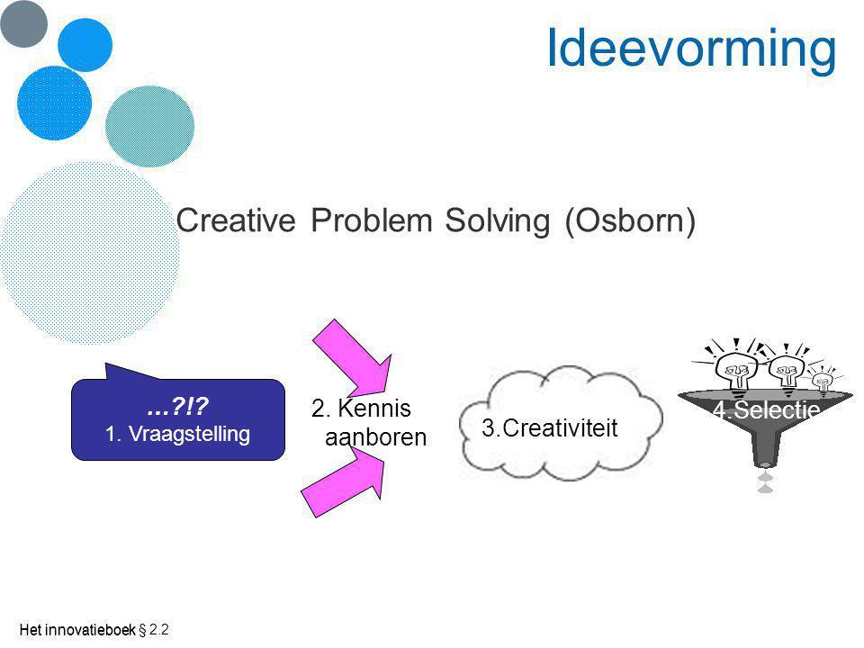 Ideevorming Creative Problem Solving (Osborn) … ! 2. Kennis