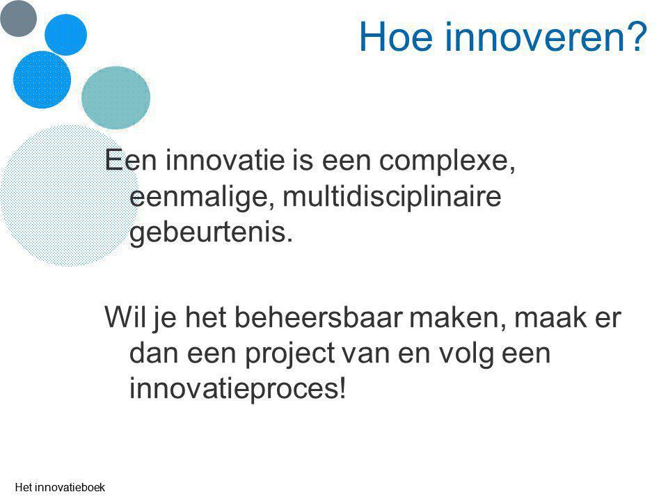 Hoe innoveren Een innovatie is een complexe, eenmalige, multidisciplinaire gebeurtenis.