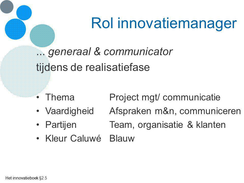 Rol innovatiemanager ... generaal & communicator