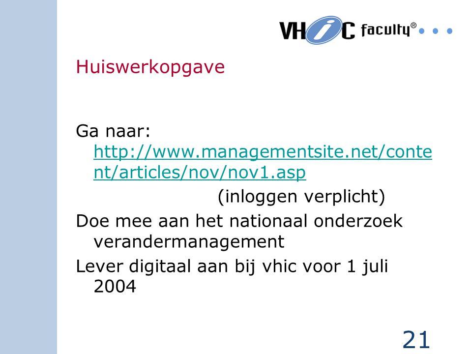 Huiswerkopgave Ga naar: http://www.managementsite.net/content/articles/nov/nov1.asp. (inloggen verplicht)