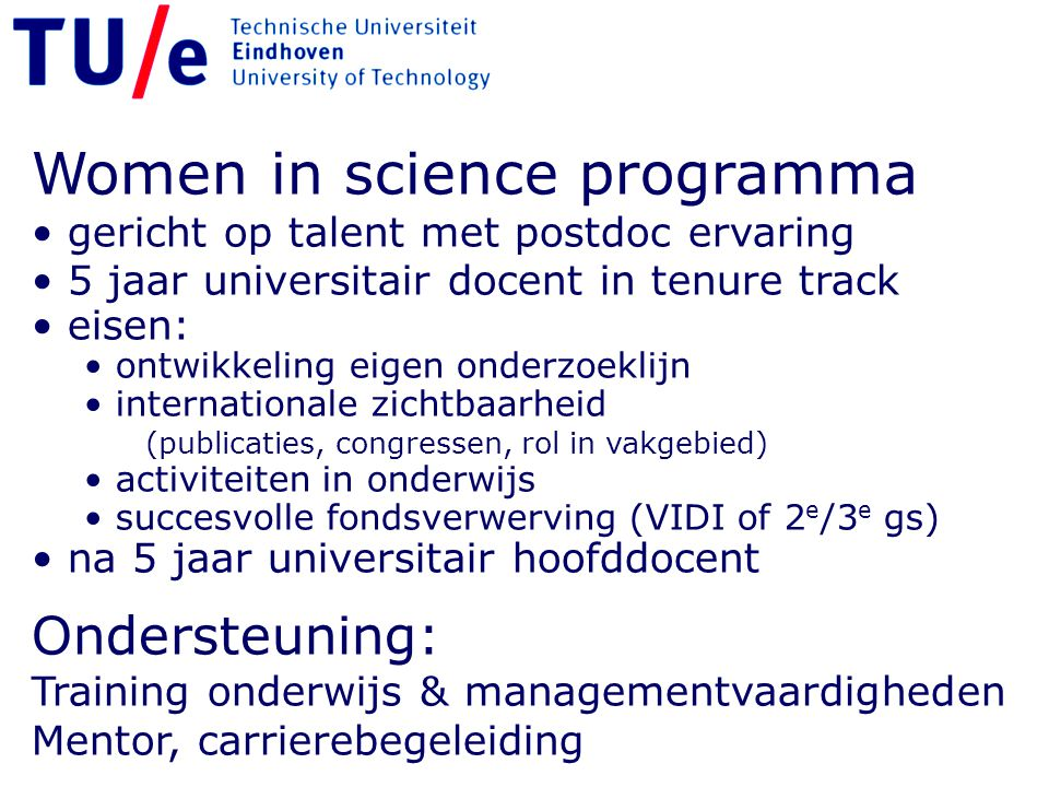 Women in science programma