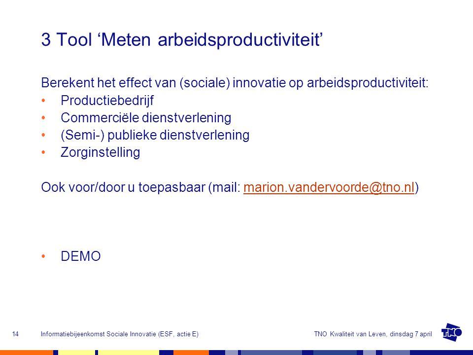 3 Tool 'Meten arbeidsproductiviteit'