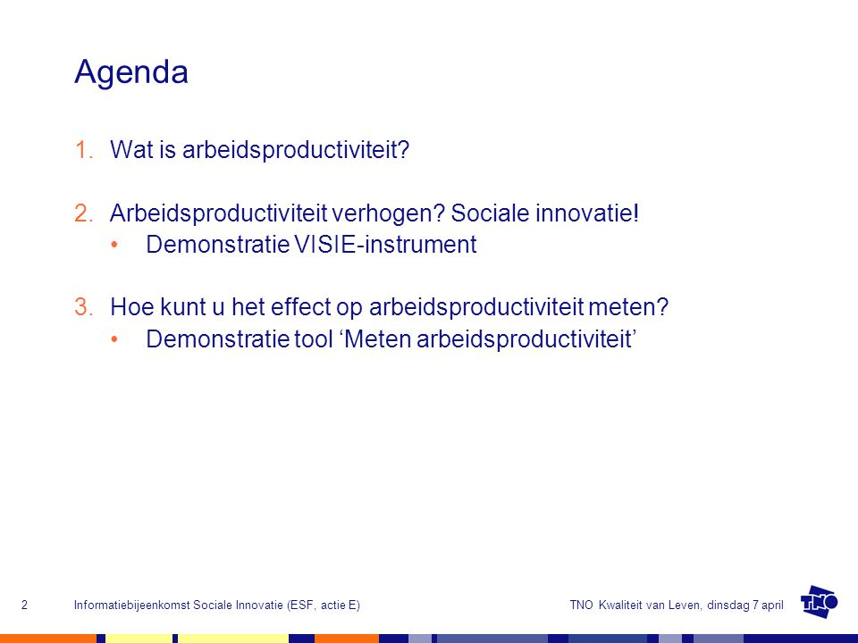 Agenda Wat is arbeidsproductiviteit