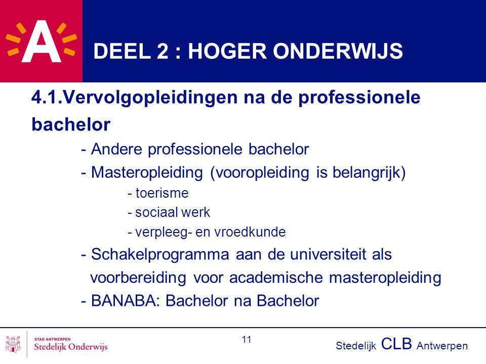 DEEL 2 : HOGER ONDERWIJS 4.1.Vervolgopleidingen na de professionele