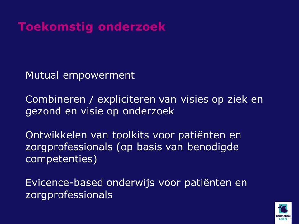 Toekomstig onderzoek Mutual empowerment