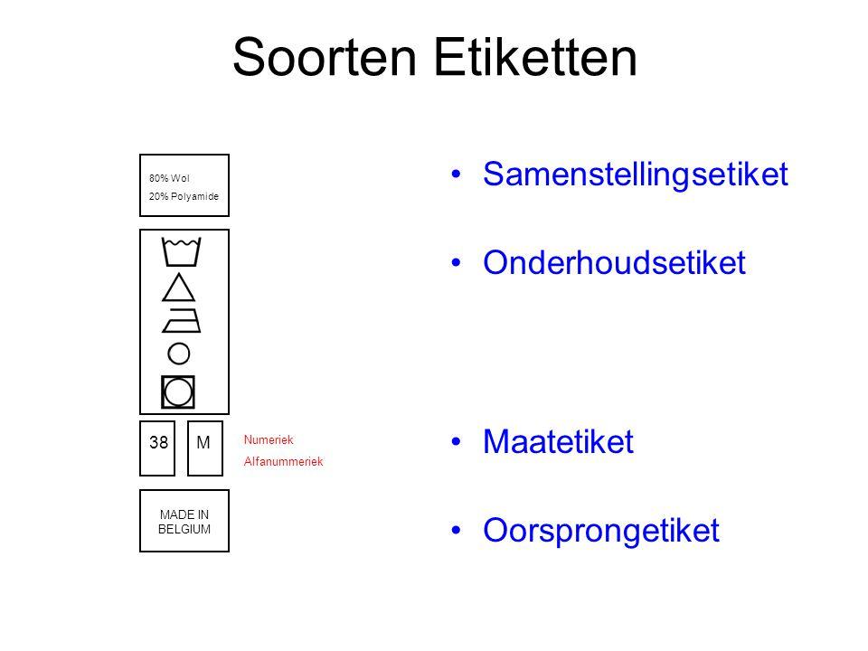 Soorten Etiketten Samenstellingsetiket Onderhoudsetiket Maatetiket