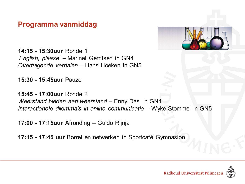 Programma vanmiddag