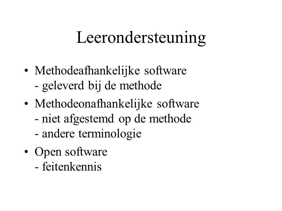 Leerondersteuning Methodeafhankelijke software - geleverd bij de methode.