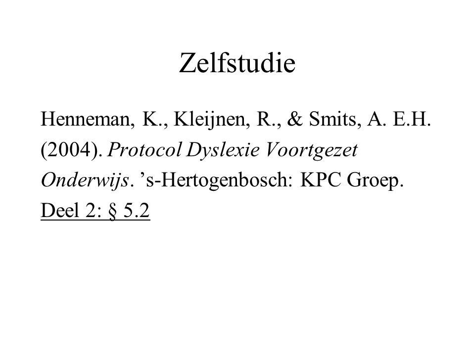 Zelfstudie Henneman, K., Kleijnen, R., & Smits, A. E.H.