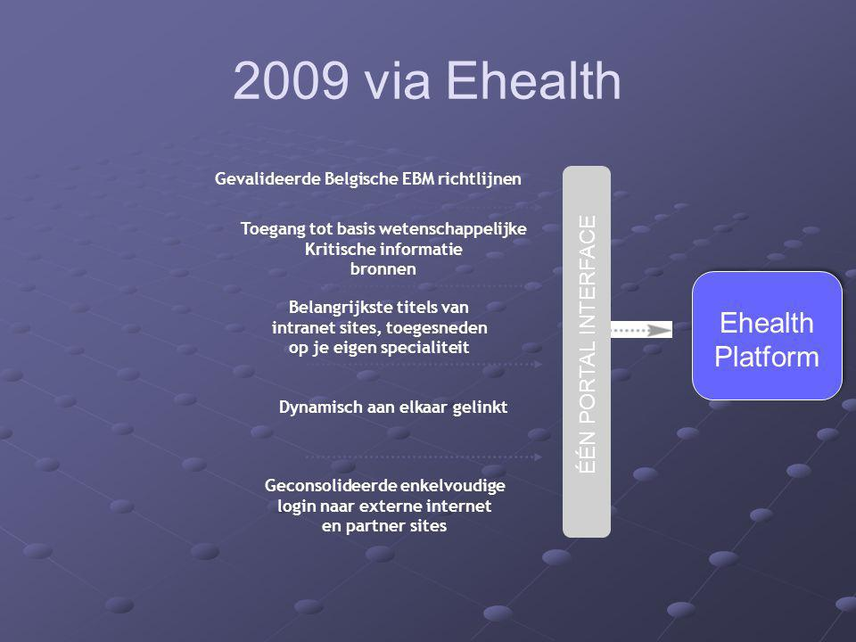 2009 via Ehealth Ehealth Platform ÉÉN PORTAL INTERFACE