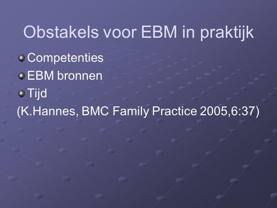 Obstakels voor EBM in praktijk