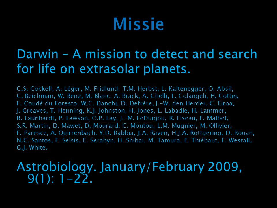 Missie Darwin – A mission to detect and search