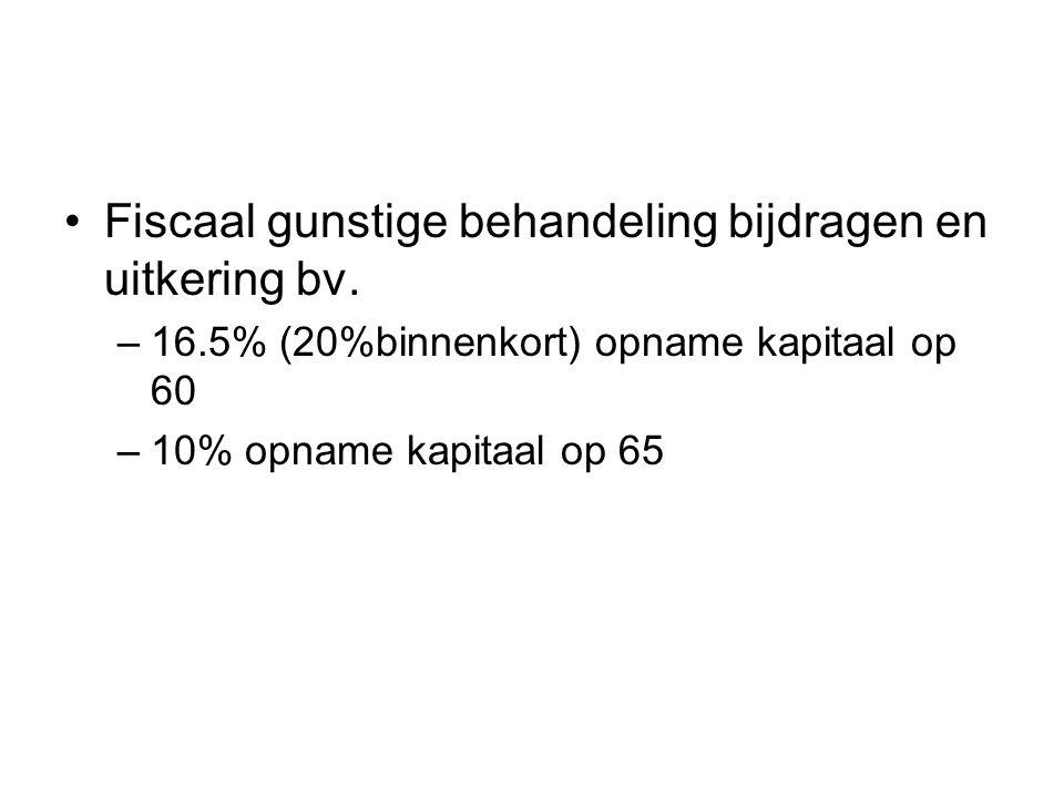 Fiscaal gunstige behandeling bijdragen en uitkering bv.