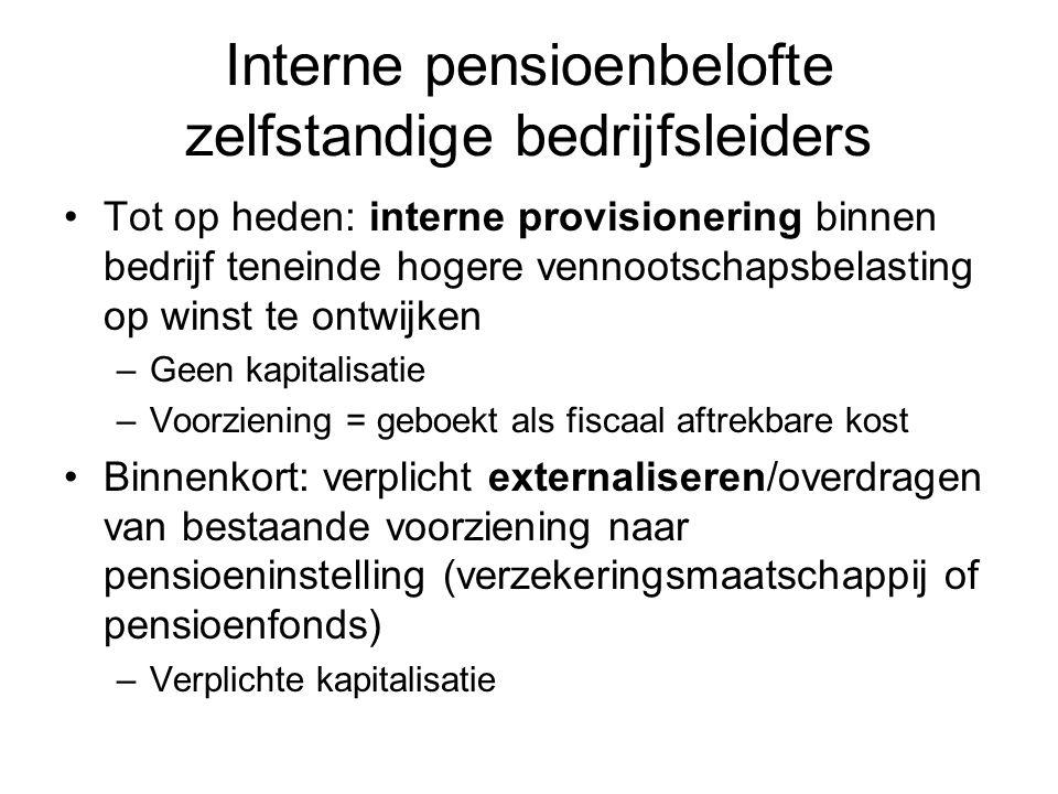 Interne pensioenbelofte zelfstandige bedrijfsleiders