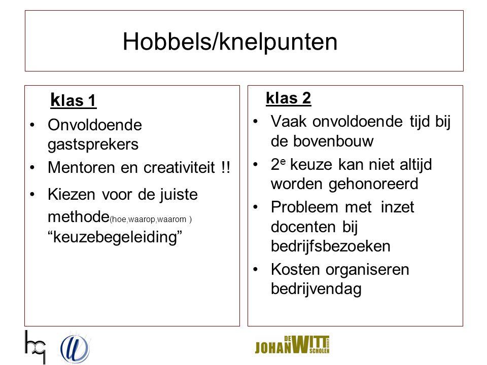 Hobbels/knelpunten klas 1 klas 2