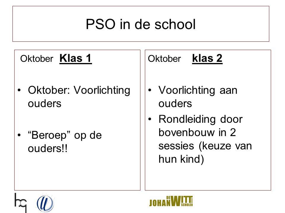 PSO in de school Oktober Klas 1 Oktober: Voorlichting ouders
