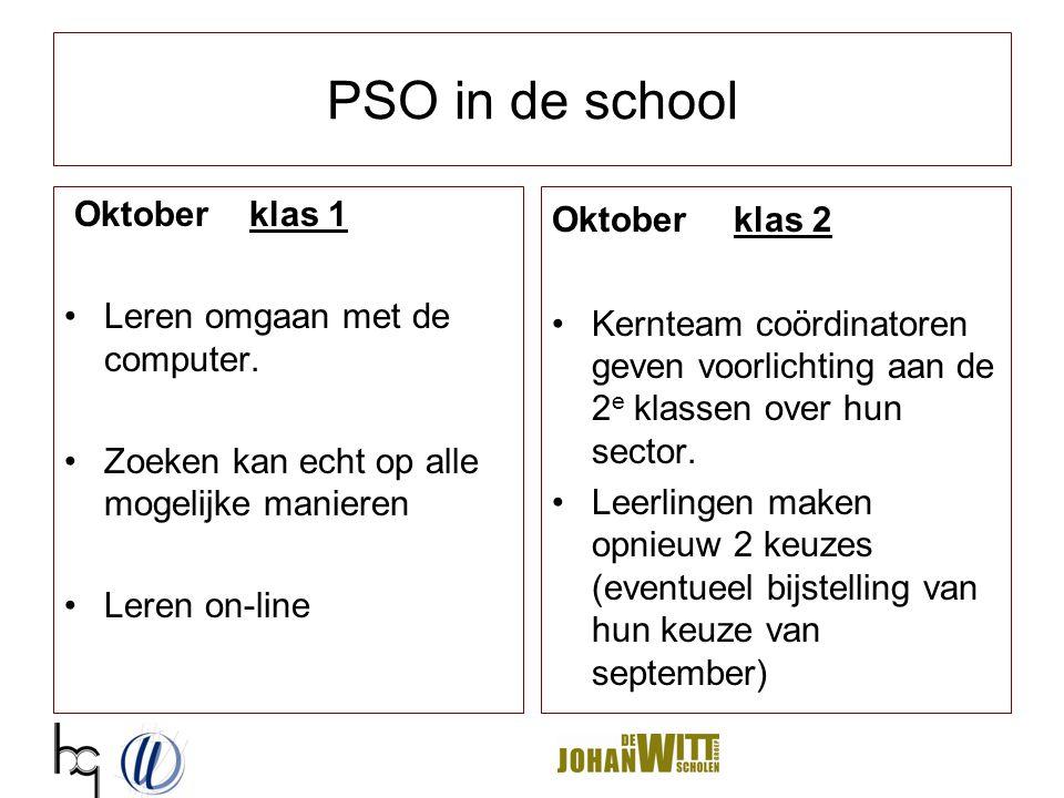 PSO in de school Oktober klas 1 Leren omgaan met de computer.