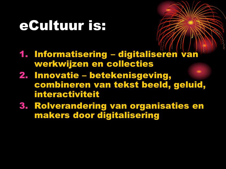 eCultuur is: Informatisering – digitaliseren van werkwijzen en collecties.