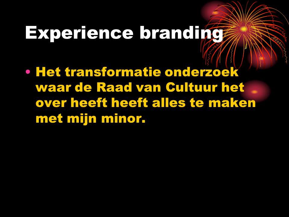 Experience branding Het transformatie onderzoek waar de Raad van Cultuur het over heeft heeft alles te maken met mijn minor.