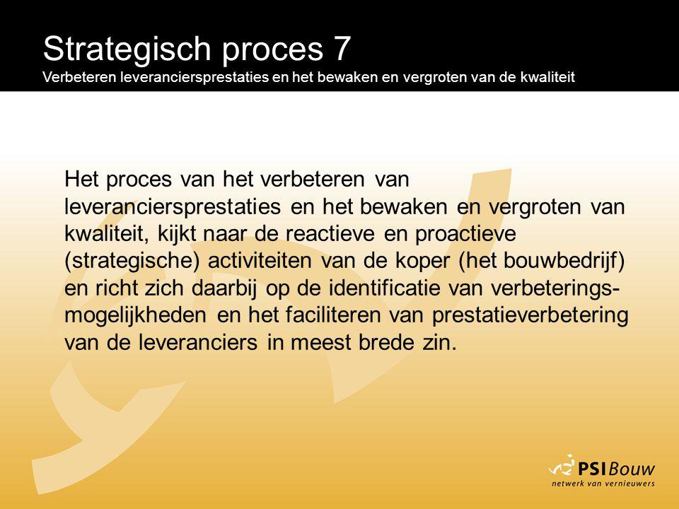 Strategisch proces 7 Verbeteren leveranciersprestaties en het bewaken en vergroten van de kwaliteit.