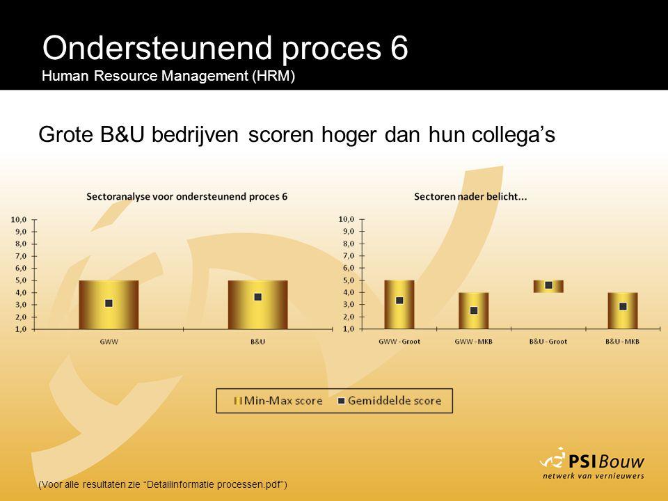 Ondersteunend proces 6 Human Resource Management (HRM) Grote B&U bedrijven scoren hoger dan hun collega's.