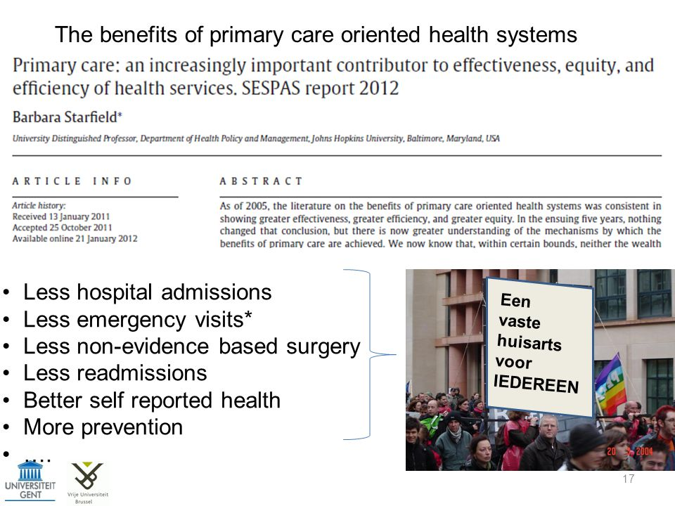 The benefits of primary care oriented health systems