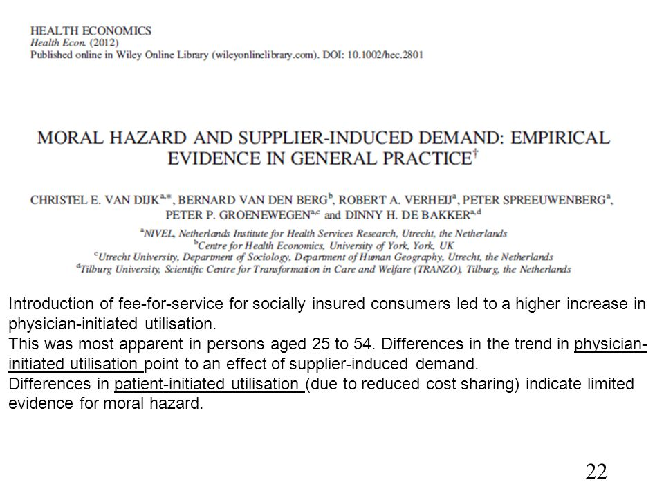 Introduction of fee-for-service for socially insured consumers led to a higher increase in physician-initiated utilisation.
