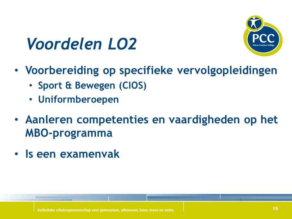 Voordelen LO2 Voorbereiding op specifieke vervolgopleidingen