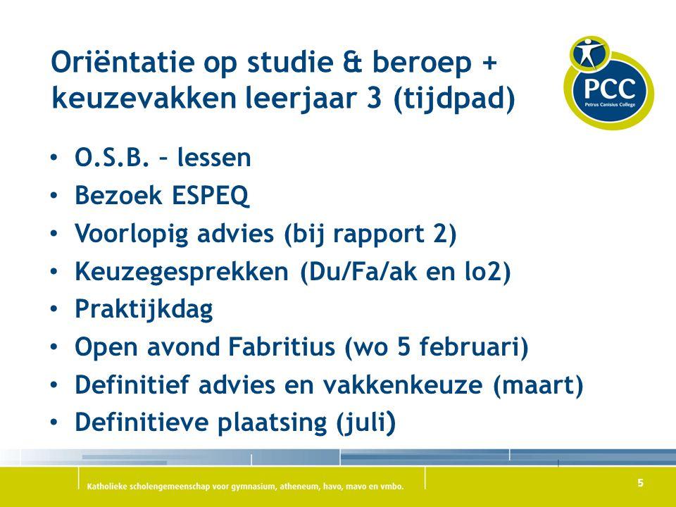 Oriëntatie op studie & beroep + keuzevakken leerjaar 3 (tijdpad)