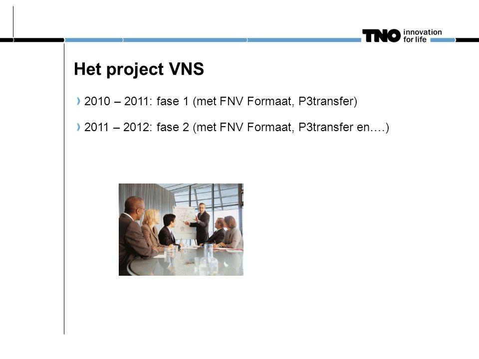 Het project VNS 2010 – 2011: fase 1 (met FNV Formaat, P3transfer)