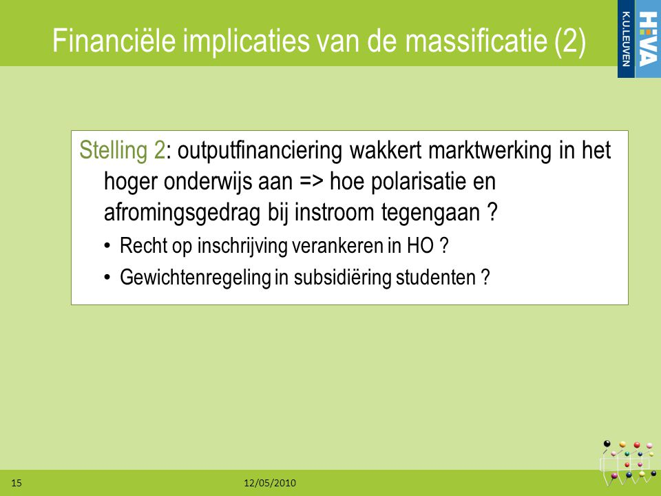 Financiële implicaties van de massificatie (2)
