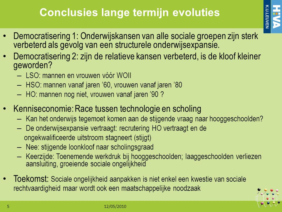 Conclusies lange termijn evoluties