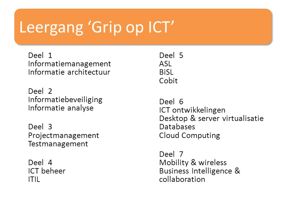 Leergang 'Grip op ICT'