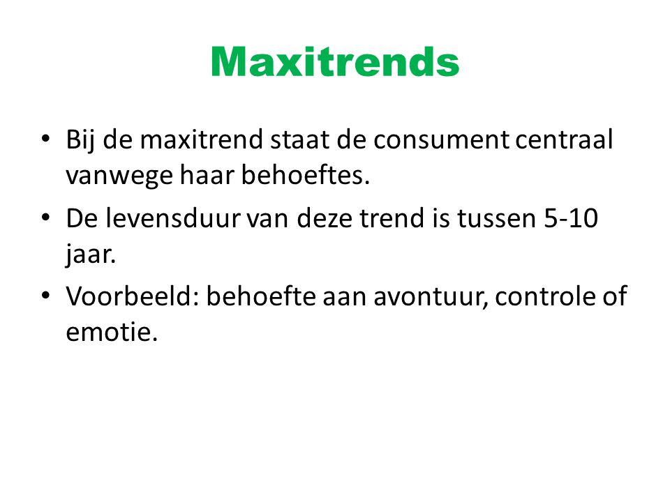 Maxitrends Bij de maxitrend staat de consument centraal vanwege haar behoeftes. De levensduur van deze trend is tussen 5-10 jaar.